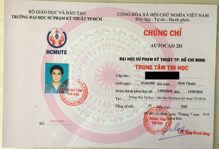 Chứng chỉ AutoCAD 2D do Trường Đại học Sư Phạm Kỹ Thuật TP. Hồ Chí Minh cấp